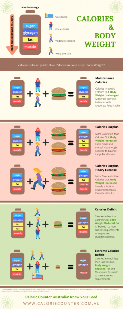 Calorie Counter Australia info-graphic: How Calories Affect Body Weight